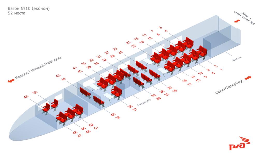 Схема вагона жд поезда